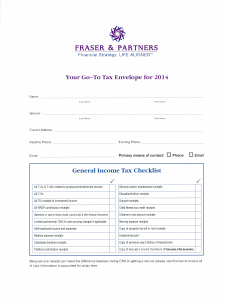 Go-To Tax Envelope for 2014
