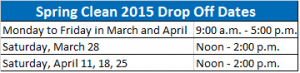 Spring Clean 2015 Drop Off Dates